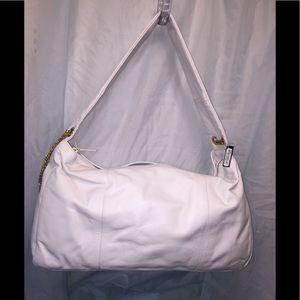 bebe's White Genuine Leather Duffle NWT